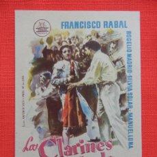 Cine: LOS CLARINES DEL MIEDO, IMPECABLE SENCILLO ORIGINAL, FRANCISCO RABAL, SIN PUBLICIDAD. Lote 210483338