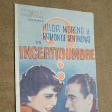Cine: PROGRAMA DE CINE DOBLE. INCERTIDUMBRE. PROGRAMA DEL SRI. SOCORRO ROJO INTERNACIONAL. 1938.. Lote 210483995