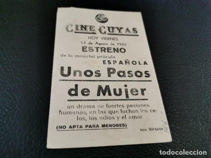 Cine: PROGRAMA DE MANO ORIG - UNOS PASOS DE MUJER - CINE CUYAS - Foto 2 - 210484062