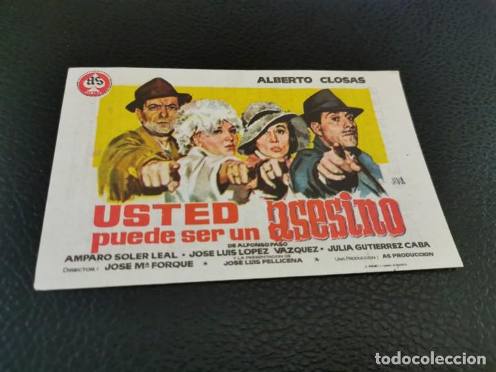 PROGRAMA DE MANO ORIG - USTED PUEDE SER UN ASESINO - CINE DE VILLENA (Cine - Folletos de Mano - Clásico Español)