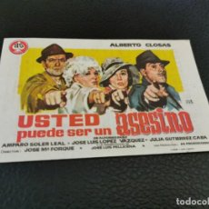 Cine: PROGRAMA DE MANO ORIG - USTED PUEDE SER UN ASESINO - CINE DE VILLENA. Lote 210484608