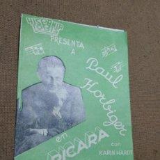 Cine: PROGRAMA DE CINE DOBLE. LA PICARA MUSICA. CINE AL DORSO.. Lote 210484732