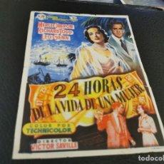 Folhetos de mão de filmes antigos de cinema: PROGRAMA DE MANO ORIG - 24 HORAS EN LA VIDA DE UNA MUJER - CINE DE PEGO. Lote 210485577