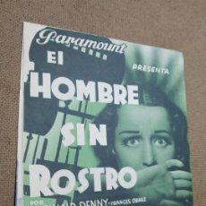Cine: PROGRAMA DE CINE DOBLE. EL HOMBRE SIN ROSTRO. CINE AL DORSO. SEP-1937.. Lote 210486358