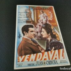 Cine: PROGRAMA DE MANO ORIG - VENDAVAL - CINE SOCIEDAD LA PRINCIPAL. Lote 210486767