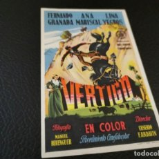 Cine: PROGRAMA DE MANO ORIG - VERTIGO - CINE GRAN CINEMA. Lote 210487801