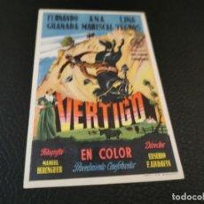 Cine: PROGRAMA DE MANO ORIG - VERTIGO - CINE SOCIEDAD LA PRINCIPAL. Lote 210487887