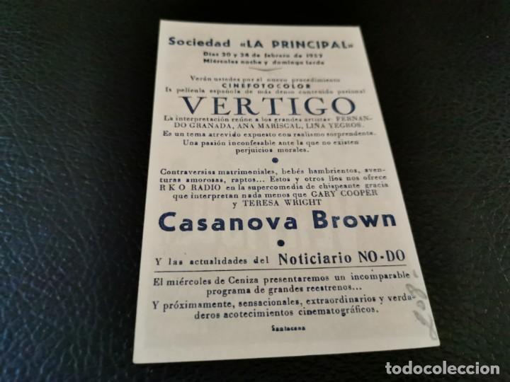 Cine: PROGRAMA DE MANO ORIG - VERTIGO - CINE SOCIEDAD LA PRINCIPAL - Foto 2 - 210487887