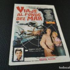 Cine: PROGRAMA DE MANO ORIG - VIAJE AL FONDO DEL MAR - CINE DE UBEDA. Lote 210488871