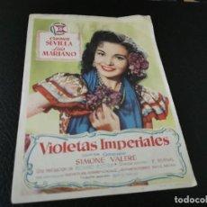Flyers Publicitaires de films Anciens: PROGRAMA DE MANO ORIG - VIOLETAS IMPERIALES - CINE DE CASTELLÓN. Lote 210489675