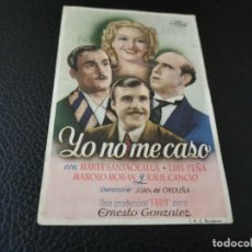 Cine: PROGRAMA DE MANO ORIG - YO NO ME CASO - CINE PALACIO CENTRAL. Lote 210491001