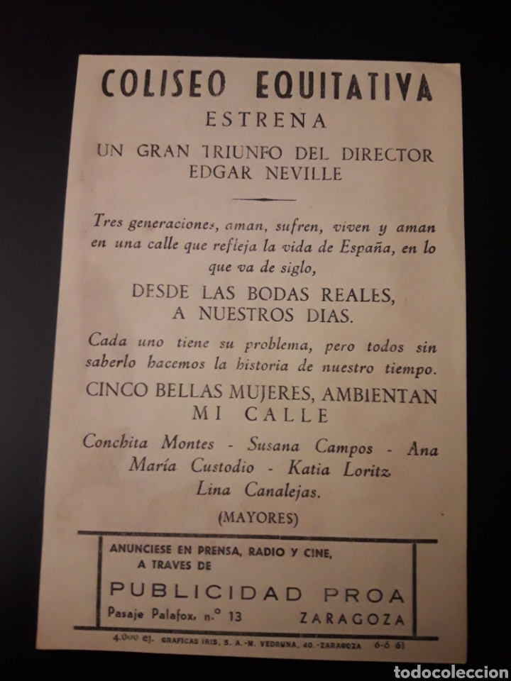 Cine: Mi calle. Edgar Neville. Coliseo Equitativa. Zaragoza - Foto 2 - 210529821