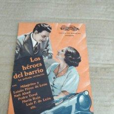 Cine: PROGRAMA DE CINE DOBLE. LOS HEROES DEL BARRIO. CINE AL DORSO.. Lote 210543942