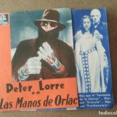 Cine: PROGRAMA DE CINE DOBLE. LAS MANOS DE ORLAC. CINE AL DORSO.. Lote 210554932
