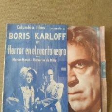 Cine: PROGRAMA DE CINE DOBLE. HORROR EN EL CUARTO OSCURO. BORIS KARLOFF. CINE AL DORSO.. Lote 210555322