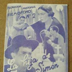Cine: PROGRAMA DE CINE DOBLE. LA HIJA DE JUAN SIMON. CINE AL DORSO. Lote 210571982