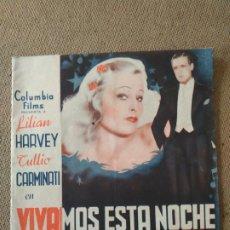 Cine: PROGRAMA DE CINE DOBLE. VIVAMOS ESTA NOCHE.. Lote 210572363