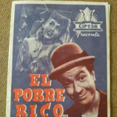 Cine: PROGRAMA DE CINE DOBLE. EL POBRE RICO.. Lote 210573960