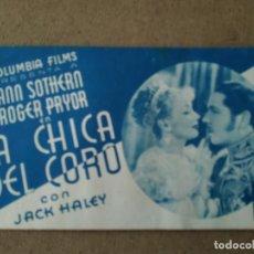 Cine: PROGRAMA DE CINE DOBLE. LA CHICA DEL CORO. CINE AL DORSO.. Lote 210574673