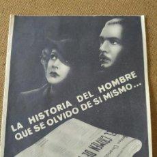 Cine: PROGRAMA DE CINE DOBLE. EL ASESINO INVISIBLE.. Lote 210578221