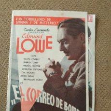 Cine: PROGRAMA DE CINE DOBLE. EL CORREO DE BOMBAY. CINE AL DORSO. 1936.. Lote 210578388