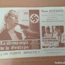 Folhetos de mão de filmes antigos de cinema: PROGRAMA DE CINE ..ULTIMA ORGIA DE LA GESTAPO. Lote 210608192