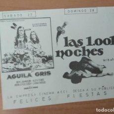 Folhetos de mão de filmes antigos de cinema: PROGRAMA DE CINE .AGUILA GRIS Y 1001 NOCHES. Lote 210608277