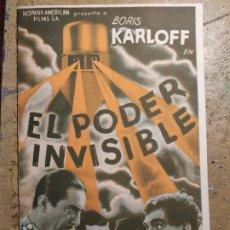 Cine: PROGRAMA DE CINE DOBLE. EL PODER INVISIBLE. BORIS KARLOFF. CINE EN DORSO.. Lote 210667480
