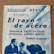 Foglietti di film di film antichi di cinema: PROGRAMA DE CINE DOBLE. EL RAYO DE ACERO. CINE EN DORSO.. Lote 210667742
