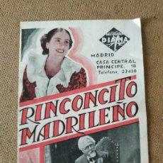 Flyers Publicitaires de films Anciens: PROGRAMA DE CINE DOBLE. RINCONCITO MADRILEÑO. CINE EN DORSO. SRI. 1938.. Lote 210671259