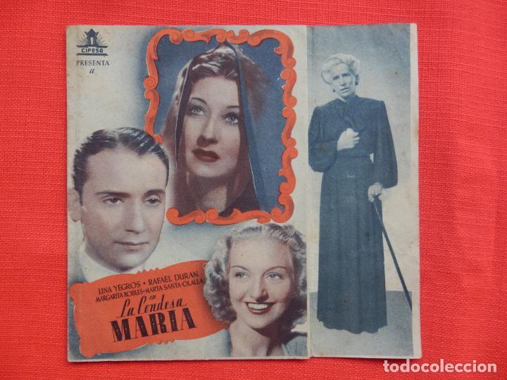 LA CONDESA MARIA, DOBLE, LINA YERGOS, C/P CINE GOYA, 1943 (Cine - Folletos de Mano - Clásico Español)