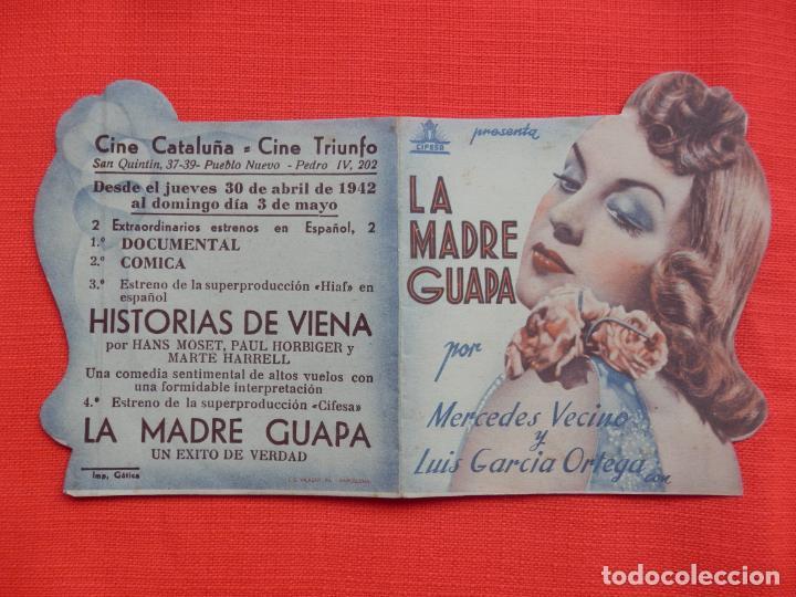 Cine: la madre guapa, impecable doble troquelado, mercedes vecino, c/p cine cataluña c. triunfo 1942 - Foto 3 - 210676647