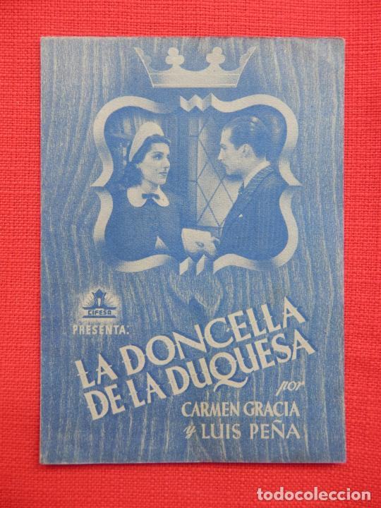 LA DONCELLA DE LA PRINCESA, DOBLE AZUL, EXTE. ESTADO, CARMEN GRACIA, SIN PUBLICIDAD (Cine - Folletos de Mano - Clásico Español)