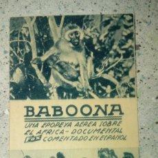 Cine: FOLLETO DE CINE BABOONA EN CARTON CINEMA PROYECCIONES 1940. Lote 210683922