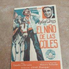 Cine: PROGRAMA DE CINE DOBLE. EL NIÑO DE LAS COLES. CINE AL DORSO.. Lote 210721771