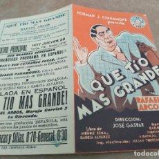 Cine: PROGRAMA DE CINE DOBLE. QUE TIO MAS GRANDE. CINE EN DORSO.. Lote 210724672