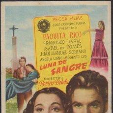 Cine: PROGRAMA SENCILLO DE LUNA DE SANGRE (1952), CON PAQUITA RICO Y FRANCISCO RABAL. Lote 210739769