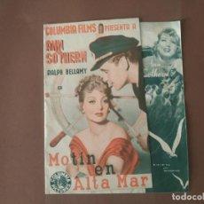 Cine: PROGRAMA DE CINE DOBLE. MOTIN EN ALTA MAR.. Lote 210751172