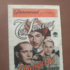 Cine: PROGRAMA DE CINE DOBLE. TRES LANCEROS. GARY COOPER. CINE EN DORSO.. Lote 210760909