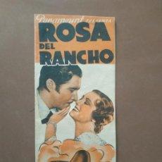 Cine: PROGRAMA DE CINE DOBLE. ROSA DEL RANCHO. JOHN BOLES.. Lote 210761036