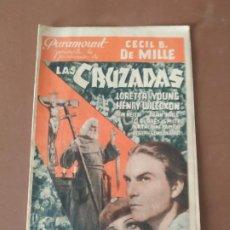 Cine: PROGRAMA DE CINE DOBLE. LAS CRUZADAS. CECIL B. DE MILLE. CINE EN DORSO.. Lote 210761784