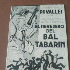 Cine: PROGRAMA DE CINE DOBLE. EL HEREDERO DEL BAL TABARIN. CINE EN DORSO.. Lote 210769266