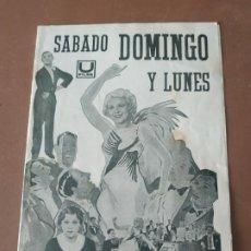 Cine: PROGRAMA DE CINE DOBLE. SABADO, DOMINGO Y LUNES. CINE EN DORSO.. Lote 210770345