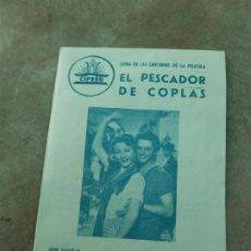 Cine: PROGRAMA DE CINE DOBLE. EL PESCADOR DE COPLAS. ANTONIO MOLINA. CINE EN DORSO.. Lote 210844051