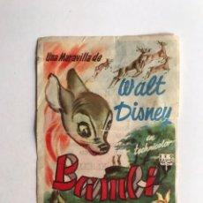 Cine: ZARAGOZA CINE COSO, FOLLETO DE MANO. BAMBI DE WALT DISNEY (A.1961) ROTO... Lote 210932951