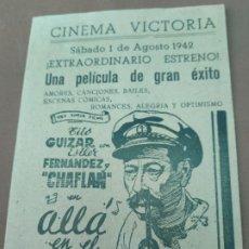 Cine: PROGRAMA DE CINE DOBLE. ALLA EN EL TROPICO. CINE EN DORSO.. Lote 211256257