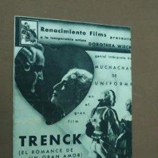 Cine: PROGRAMA DE CINE DOBLE. TRENCK. CINE EN DORSO.. Lote 211257382