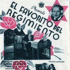Flyers Publicitaires de films Anciens: EL FAVORITO DEL REGIMIENTO. PROGRAMA DOBLE. TEATRO CALDERON DE ALCOY. Lote 211264502