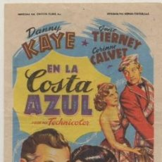 Cine: PROGRAMA DE CINE: EN LA COSTA AZUL. SIN PUBLICIDAD PC-4700. Lote 211269822