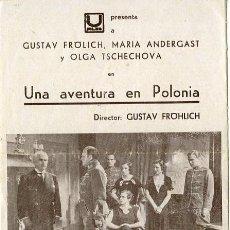 Cine: UNA AVENTURA EN POLONIA. PROGRAMA DOBLE. TEATRO GADEA.. Lote 211270465